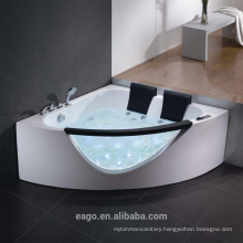 EAGO AM199S Rounded Clear Modern Double Seat Corner Whirlpool Bath Tub