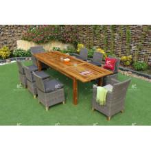 Hot Design Patio Garden 8 cadeiras Dining Set Poly Rattan Wicker Furniture