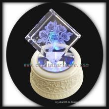 3D laser gravé cristal Rose Cube avec musique tourner conduit Base