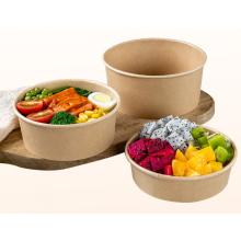 Papier Lebensmittelverpackung Einweg biologisch abbaubare Kraft Papier Salatschüsseln Lebensmittelbehälter mit Deckel wegnehmen