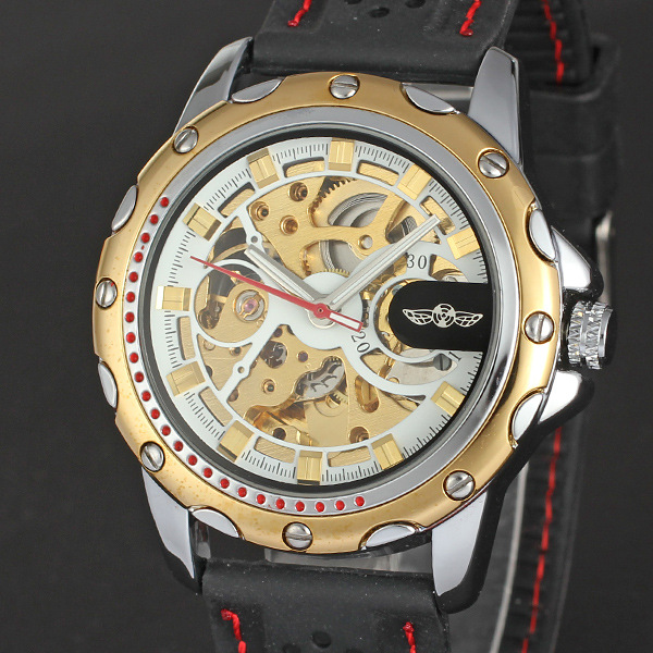 luxury winner golden watch with visible mechanism round watch for man