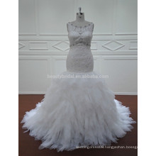 JA1235 bling neckline fishtail ruffled skirt bridal wedding bride maids dresses