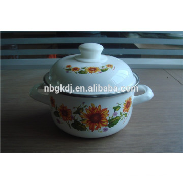 flower decals enamel strait pot with bulb handle  flower decals enamel strait pot with  bulb handle