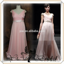 RSE256 Cap Sleeve Long Chiffon With Rhinestones Belt Country Style Peach Color Bridesmaid Dress