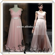 RSE256 Cap Sleeve Long Chiffon Com Rhinestones Belt Country Style Peach Color Vestido de dama de honra