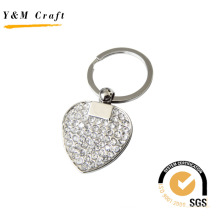 New Design Heartshape Metal Key Ring with Diamonds (Y02379)