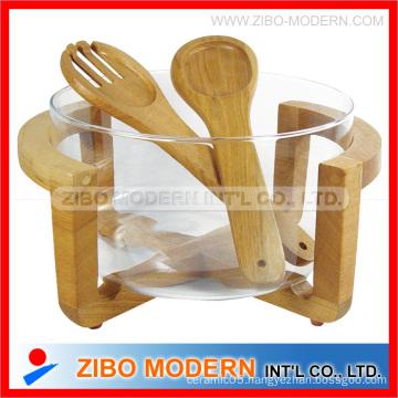 Glass Salad Bowl With Wooden Serve Set