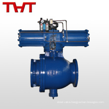 High pressure pipe unloading ash pneumatic actuated flanged ball valve