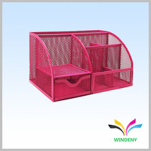 Office Supply Red Metal Mesh 6 Compartiment Organisateur de bureau
