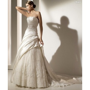 A-line Strapless Cathedral Kereta Satin Lace Beading Appliques Wedding Dress