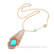Fashion Feather Arrow Design Long Collier pendentif chaîne en or
