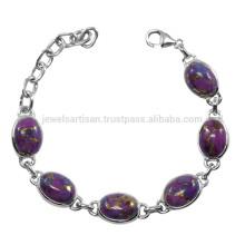 Bracelet en chaîne de pierres précieuses Turquoise en cuivre violet 925 pour garçons