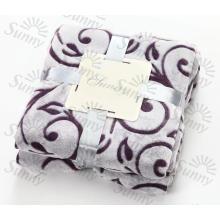 100% полиэстер Супер мягкий новый трехцветный тисненый фланелевый флис Одеяло / обрезное флисовое одеяло