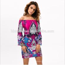 Hot Nouveaux produits pour 2016 Robes d'été Femmes hors épaule robe décontractée pour dame