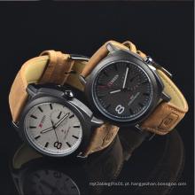 Relógio de pulso feito sob encomenda das senhoras do relógio de quartzo do couro do logotipo da fábrica