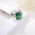 Großhandels-Soem-Art- und Weisesilberne Ring-tiefgrüne Stein-klare CZ-indische Smaragd-Ringe