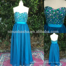 Hot Sale 2014 Real Blue Sweetheart Backless Andar de comprimento Chiffon A-Line Vestido de noiva formal Vestidos de baile longo Custom Made NB0543