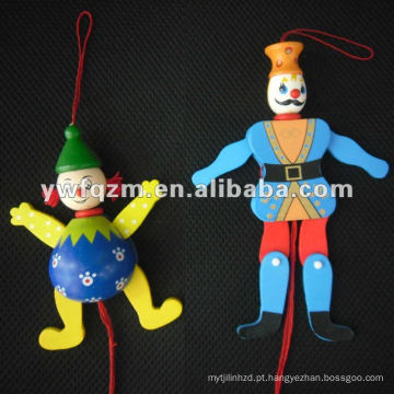 boneco de fantoche de madeira com corda para brinquedos de crianças