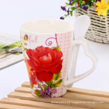 Custom creative flower pattern ceramic mug with spoon