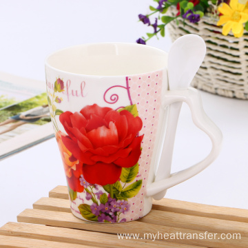 Good quality 100% for Personalised Photo Cup Custom creative flower pattern ceramic mug with spoon supply to United States Factories