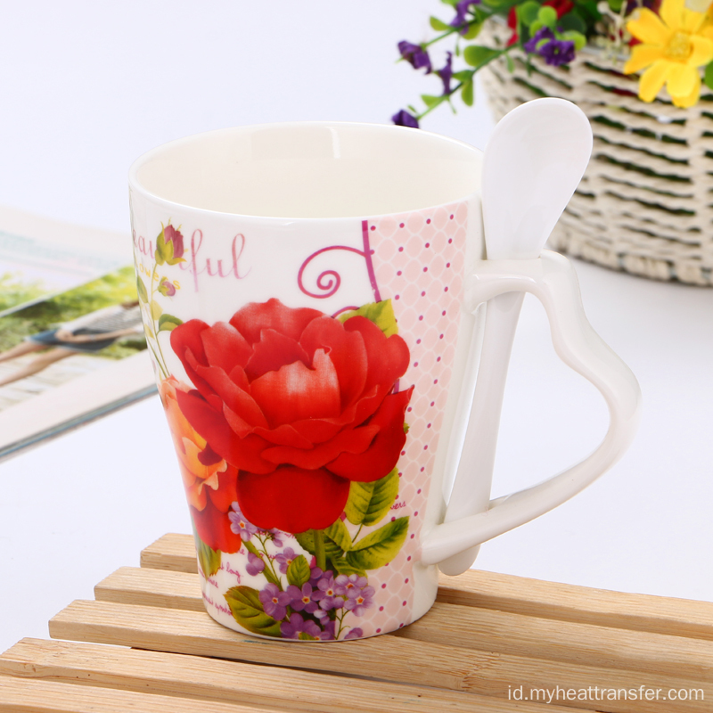 Custom creative flower ceramic mug dengan spoon