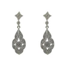Sterling Silver Dangle Bride Earrings