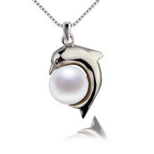 Dolphin Shape Natural Freshwater Real Pearl Pendant
