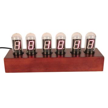 Digital Nexie Tube Clock for Desk Wooden Base