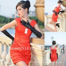 Astergarden Real foto V cuello rojo tafetán Mini costura costura vestido AS135