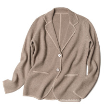PK18CH009 100% natural cashmere terno de malha gola cardigan High end lady cardigan