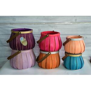 Weaving Drum-like Wood Chip Basket
