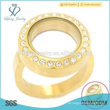 Heißer Verkauf rostfreier Stahlgold runder Kristall schwimmende Medaillonringentwurfsschmucksachen