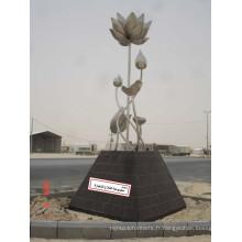 Moderne et généreux Arts abstraits Acier inoxydable304 Sculpture en fleurs pour décoration extérieure