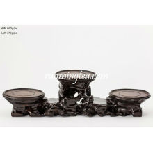 Rosewood Convex Three Connected Yixing Pots Stand (Noir)