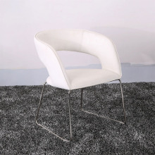 High Qualtiy Leather dan Metal White Dining Chairs