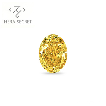 ForeverFlame  fancy yellow 3.5ct 8mm*10mm vvs Oval Cut diamond CVD CZ Moissanite haute couture Color ring