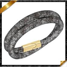 2015 Pulsera del brazalete de la manera, pulseras magnéticas, pulsera del acoplamiento del metal con el cristal (FB0125)