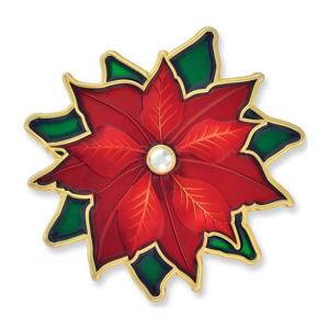 Beautiful Christmas Red Poinsettia Flower Brooch Pin