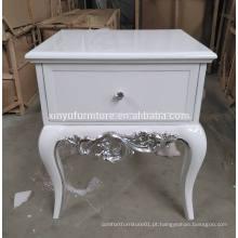 Mesinha de cabeceira branca branca esculpida XYN314