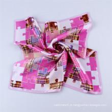 Impressão digital de alta qualidade Ladies 100% Silk Neck Scarf