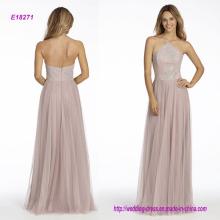 Rose Inglés Net A-Line vestido de dama de honor con Caviar Corpiño, cuello alto Neckline Halter y falda circular
