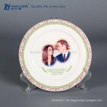 8 Zoll Fine Bone China Dekorative Platten für Fotodruck, dekorative hängende Wandplatten