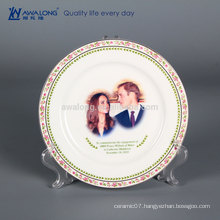 8 inch Fine Bone China Decorative Plates For Photo Printing, Decorative Hanging Wall Plates