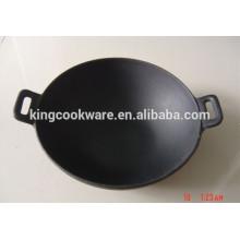 wok de ferro fundido com panelas de revestimento pré-temperado para cozinha