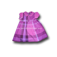 baby girl purple check doll collar dress