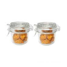 Small Size Glass Spice Jar Hermetic Ss Clip and Glass Lids, Round Shape