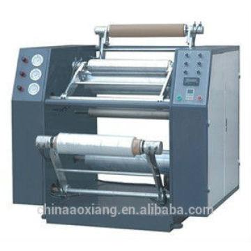 Semi-automatic stretch film rewinding and slitting machine