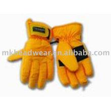 2013 nuevos guantes amarillos del esquí del diseño