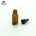 frasco de vidro ambarino vazio customizável do óleo essencial 20ml com conta-gotas