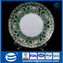 white gold line flower with green backcolor decorated golden service plate